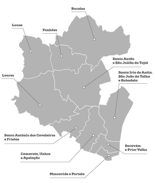 mapa de loures Loures Município :: Mapa do Concelho mapa de loures